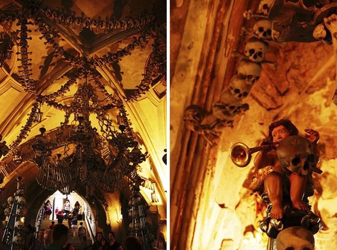 O gigantesco lustre composto em ossos e os anjos que contrastam na decoração   Foto: Sarita Reed