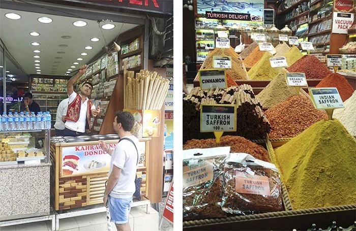O jeito turco de servir sorvete e um pouco das especiarias encontrado nos mercados da cidade | Foto por Pedro Henrique Ferreira