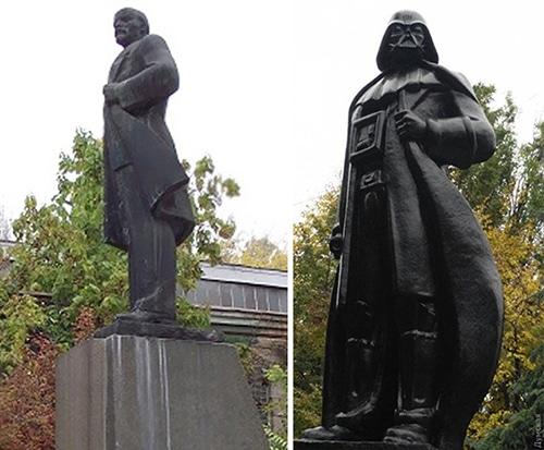 A estátua antes e depois